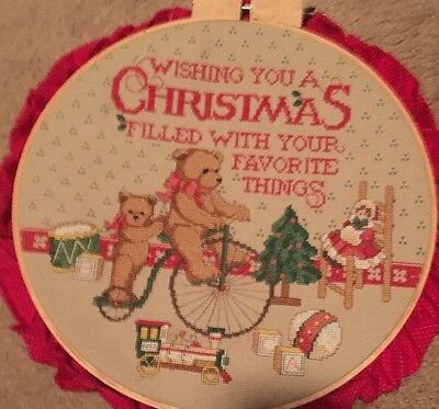 Finished Completed Teddy Bear Christmas Wishes Hoop Cross Stitch Kit Vintage