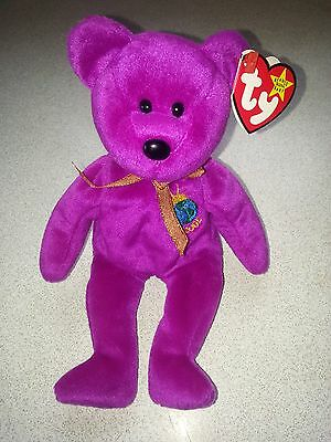 Ty Beany Babies Rare Millennium Pink  Bear 1999 With Tag