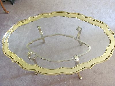 Vintage Gold Brass & Glass Top Oval Scallop Edge Hollywood Regency Coffee Table