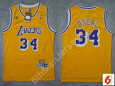 NBA Shaquille O'Neal #34 Los Angeles Lakers RETRO yellow swingman jersey - S/M/L