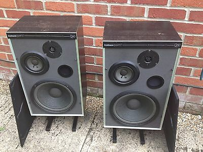 Goodmans Q80 Large Hifi Speakers 3-Way 10 inch Bass Reflex 100w on Stands Surrey