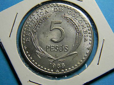 Colombia 1968 5 Pesos Coin Low mintage - Commemorative issue -1 Year Type