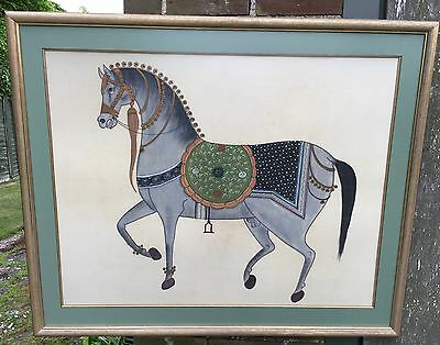 Silk Hand Painted Tapestry of Asian Horse - Framed - Superb