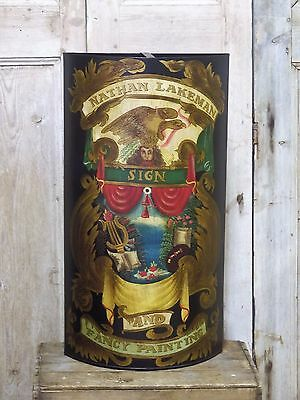Stunning Antique Style Sign Painted Metal Umbrella Stand H 77cm