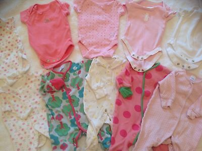 5 baby grows and 5 vests for newborn girl