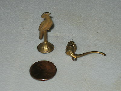 Cracker Jack Metal Prizes; Figure Head Pipe and Perching Parrot; (2); Dollhouse