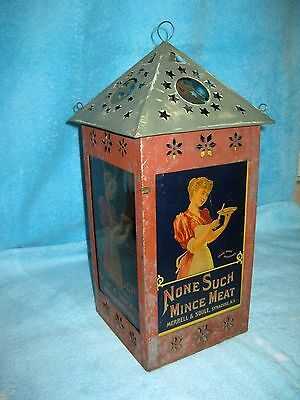 NONE SUCH Mincemeat  TIN & GLASS Advertising LANTERN SIGN STORE COUNTER DISPLAY
