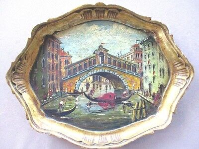 Hand Painted Venetian Canal Scene Italian Florentine Tole Wood Antique Tray