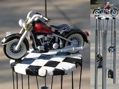Red Black Motorcycle Bike Biker Hog Harley Wind Chime Mobile Helmet Jacket
