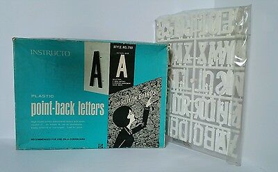 """Vintage Instructo 2"""" white Point Back Capital Letters Bulletin Board Sign #750"""