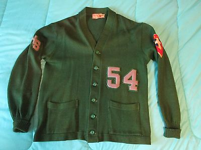 Vintage 50's 100% Wool Varsity Letterman's Sweater Green