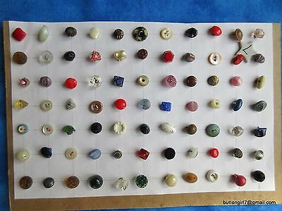 5052 – 77 Diminutive-Small Mostly Glass Vintage Buttons-Boutons - L