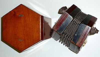 Antique Lachenal concertina 21 buttons in rosewood case