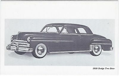1950 DODGE 2-Door SEDAN Original Vintage DEALER SUPPLY-Style Postcard UNUSED ^