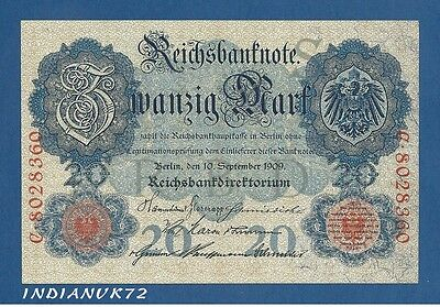 Alemania // Germany -- 20 Mark ( 10.9.1909 ) -- Mbc- // Vf -- Pick 37 .