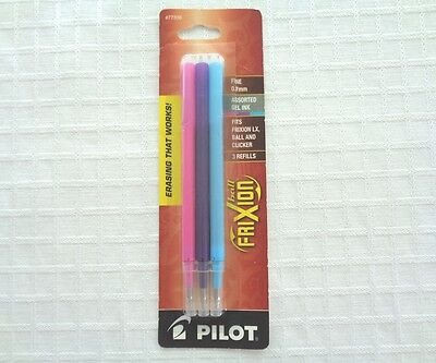 PILOT Frixion REFILLS for Erasable Gel Ink Fine Point Pens Pink Purple Turquoise