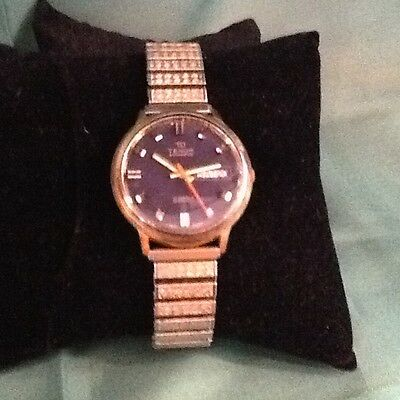 Vintage Mens Black Face Tenor Automatic 17 Jewels Incabloc Swiss Made Day & Date