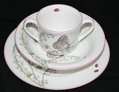 Tiffany & Co Lily Of The Valley Porcelain China Plate, Bowl,cup Childs Set 2005