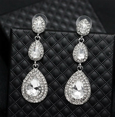 3-tier Dangles Clear Austrian Rhinestone Chandelier Earring Bridal Prom Wed E6