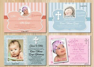 Christening - Baptism Girls & Boys Invitations Cards - With Free Envelopes