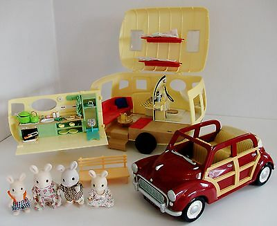 Sylvanian Families Car and Caravan with Rabbit Family