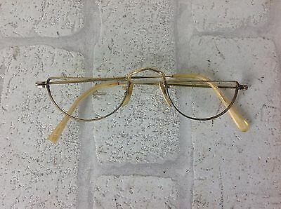 Vintage 1950's Gold Algha 20 Half Moon Spectacles Glasses
