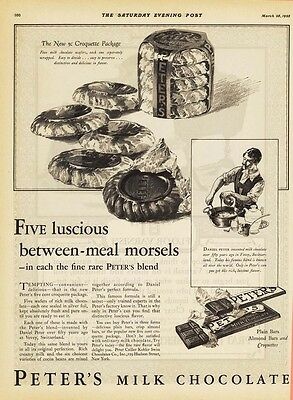 1925 AD Peter' Milk Chocolate Five luscious between-meal morsels  advertising