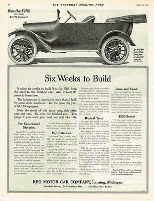 1914 Vintage Reo Motor Co. automobile print AD Six Weeks to built Lansing, Mich