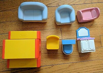 Vintage Little Tikes People & Accessories Furniture Doll House Table Chair