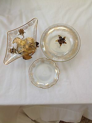 Vintage Italian Gold Gilt Florentine Tole 3 Piece Glass Set
