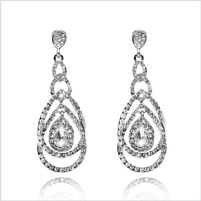 Loops Clear Austrian Rhinestone Crystal Chandelier Dangle Earrings Prom Wed E11