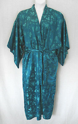 Blue Green Etched Silk Rayon Kimono Robe by Double Peach Size OS/Large Washable