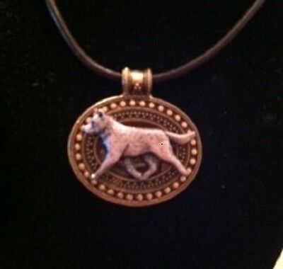 Australian Cattle Dog Brass Medallion on leather cord~necklace~2 tone!