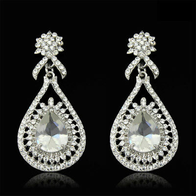 Princess Clear Austrian Rhinestone Crystal Dangle Drop Earrings Bridal Prom E15