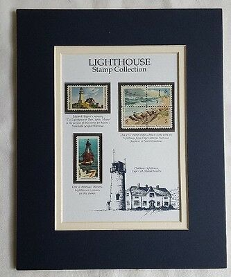 Lighthouse Stamp Collection Matted Cape Cod Two Lights Maine Florida Mint