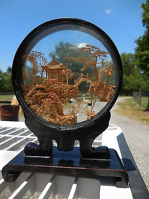 Vintage Chinese Hand Carved Cork Art in Glass Case Pagoda Scene w/ 2 Storks