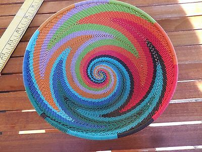 NWOT Woven Rainbow Telephone Wire Basket Small Bowl South African Art Zulu $175