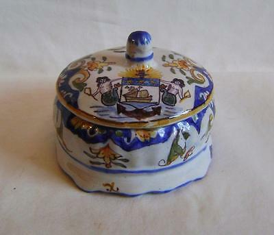Antique Trouville Pottery Box & Lid with  Coat of Arms & Mermaids: French Faiece