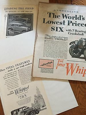 1928 1929 Whippet Car Automobile Original Magazine ads lot of 6