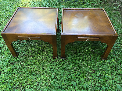 Mid Century Vintage Pair End Tables Night Stand Chinoiserie Writing Pull Out