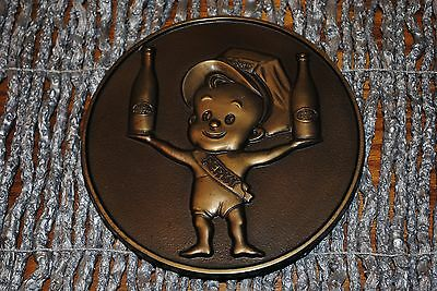 Dr Pepper Bronze Color Mascot Perky With Two Dr Pepper Bottles Round Plaque