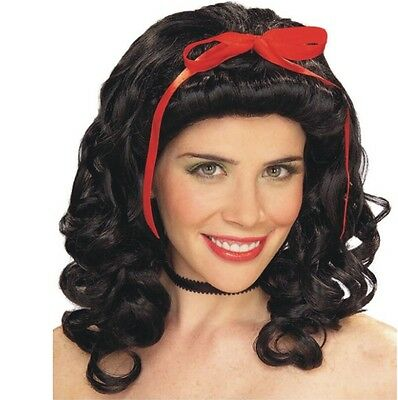 Wig - Storybook Girl - Snow White  - Adult Curly Black Curls w/ Red Ribbon