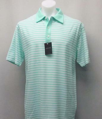 New Mens Dunning Golf golf polo shirt Large Polyester Green White Striped