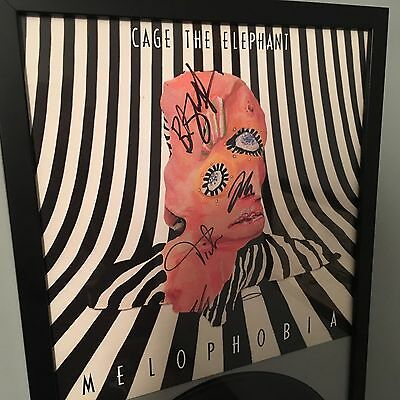 "FRAMED Autographed vinyl record signed by ""Cage The Elephant"" ALL band members"