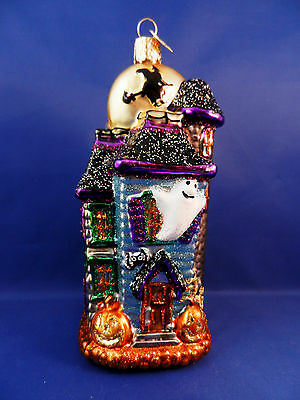 Haunted House Witch Merck Old World Halloween Glass Christmas Ornament NWT 26067