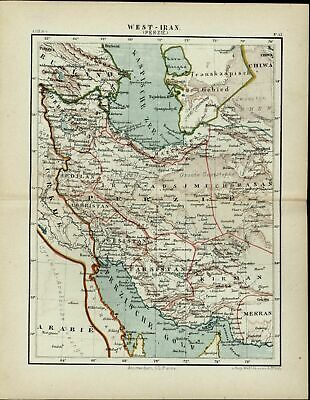 West Iran Persia Arabia Azerbaijan Russia Central Asia 1882 detailed color map