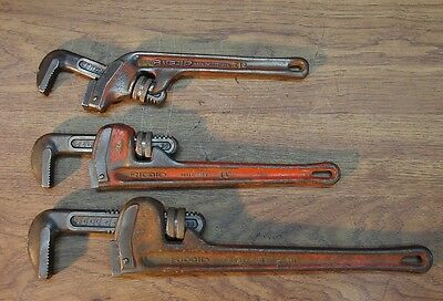 """3 Ridgid Heavy Duty Pipe Wrenches,18"""", 14"""", & E12-12"""" Angled Jaw,Good Condition"""