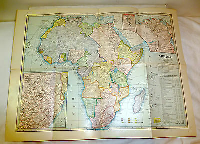 1899 map of Africa; fold out, color, South Africa, Suez Canal, Transvaal