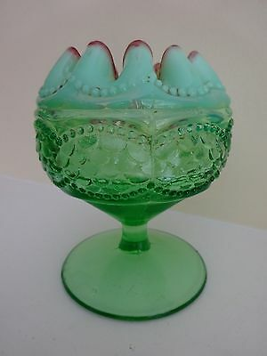 Gorgeous Vintage Jefferson Glass Co. Pedestal Rose Bowl - Opalescent Green Red