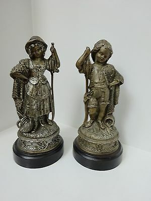 Vintage Ornate Pair of Victorian Cast Metal Spelter Statues-Girl & Boy Fishing